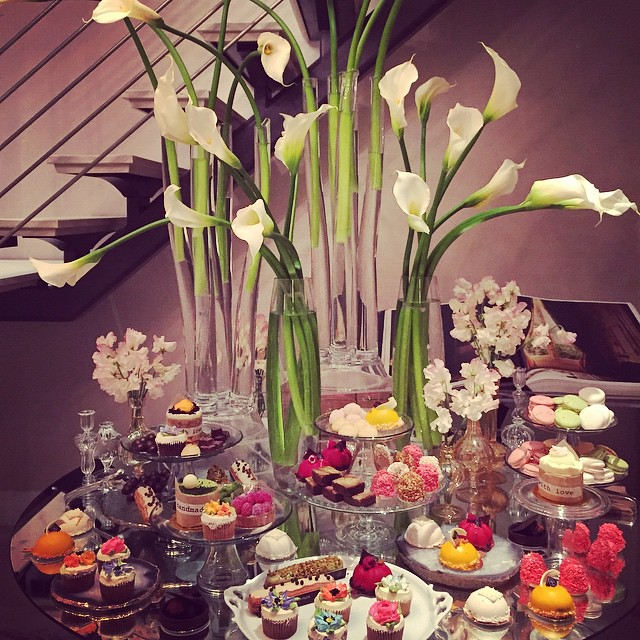 "Happy weekend!! Time to cheat on your diet, everyone! Still dreaming about this dessert table at the @thequinhotel in the Penthouse! Everything was styled by @jungleeny who is a decor genius. Penthouse ""Sweet"" indeed!! Ps everything tastes as good as it l"