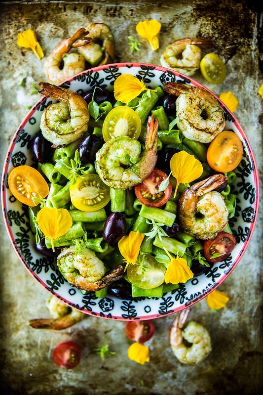 Spinach Pesto Pasta Salad with Shrimp