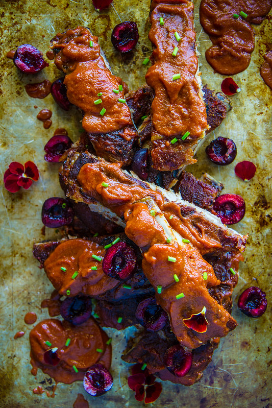Ribs with Cherry Jalapeno BBQ Sauce