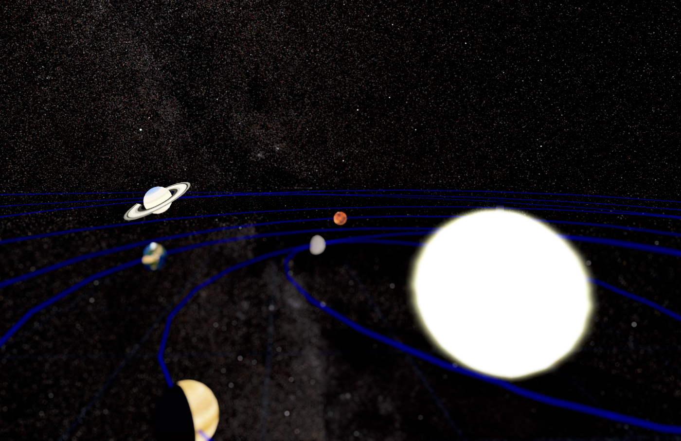 The Solar System shown in