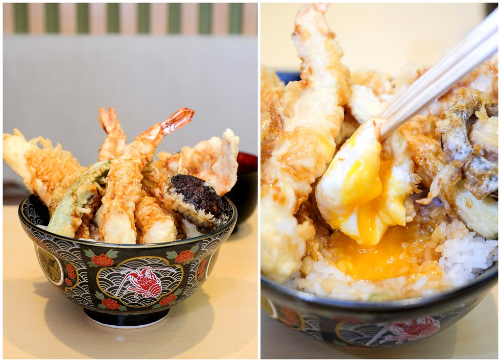 Ginza Tendon Itsuki: surprise onsen egg covered by the bowl of prawn and chicken tempura