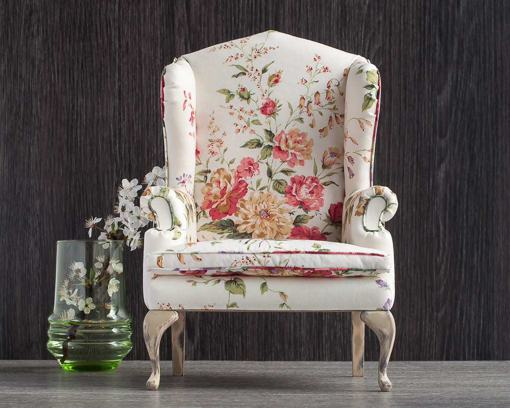 ... 1/4 Scale Doll Wingback Chair With Floral Upholstery | By Doll  Furniture In 1