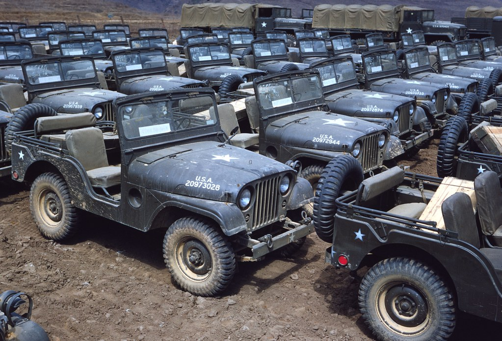 New M38A1 Jeeps Awaiting Issue Korea 1952