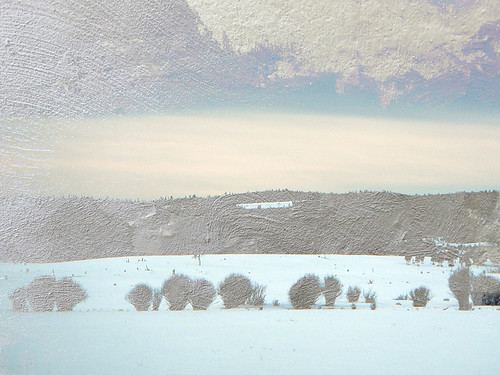 Hwy 5 snow scene with a texture layer overlaid (plastered wall in Spain)