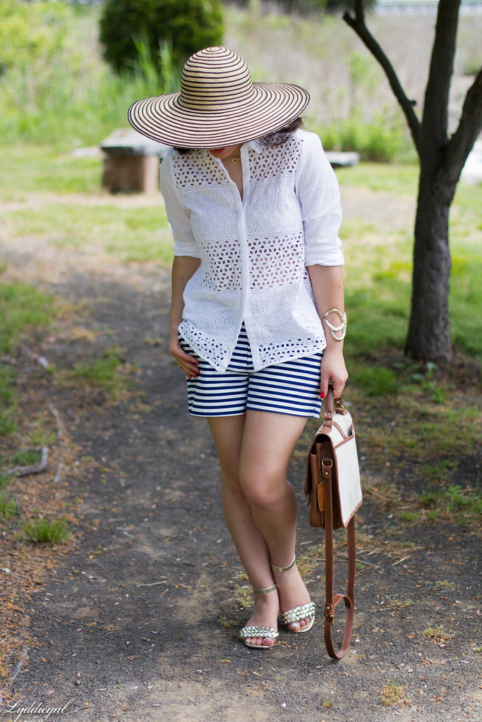 white eyelet shirt, striped shorts, starfish cuff, floppy hat-4.jpg