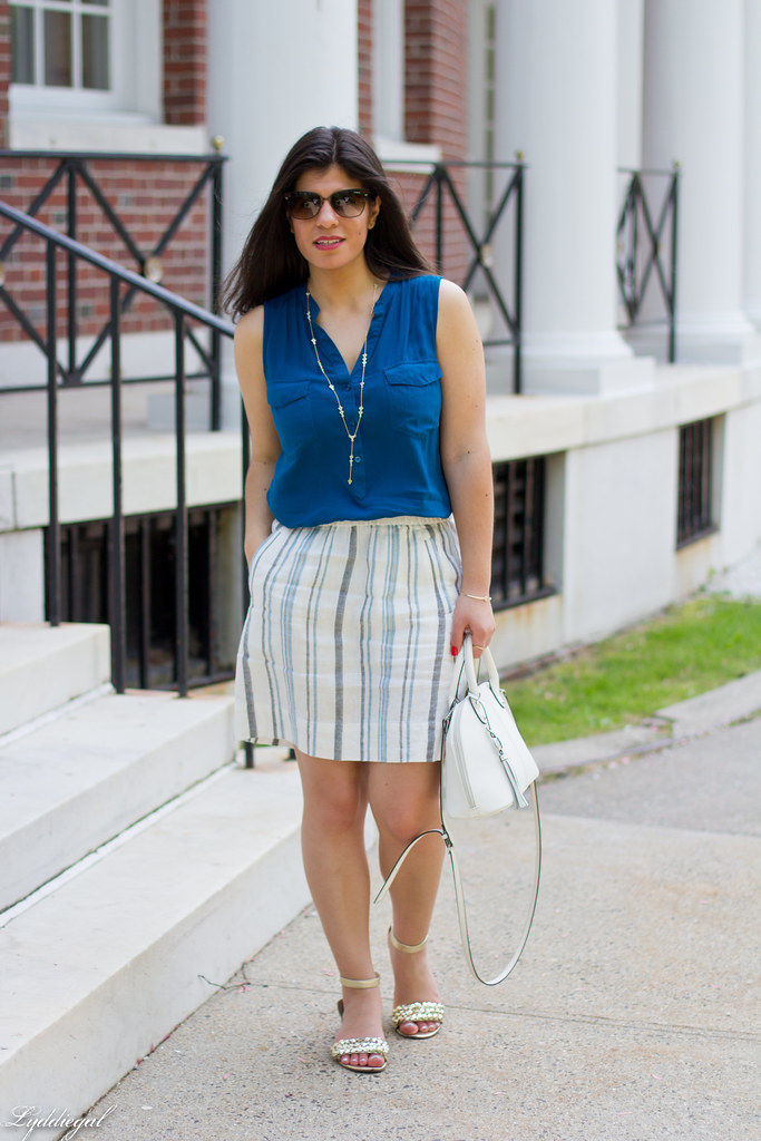 striped linen skirt, blue tank, white bag-13.jpg