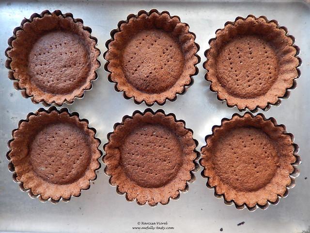 tarte cu ciocolata alba, ascarpone si zmeura