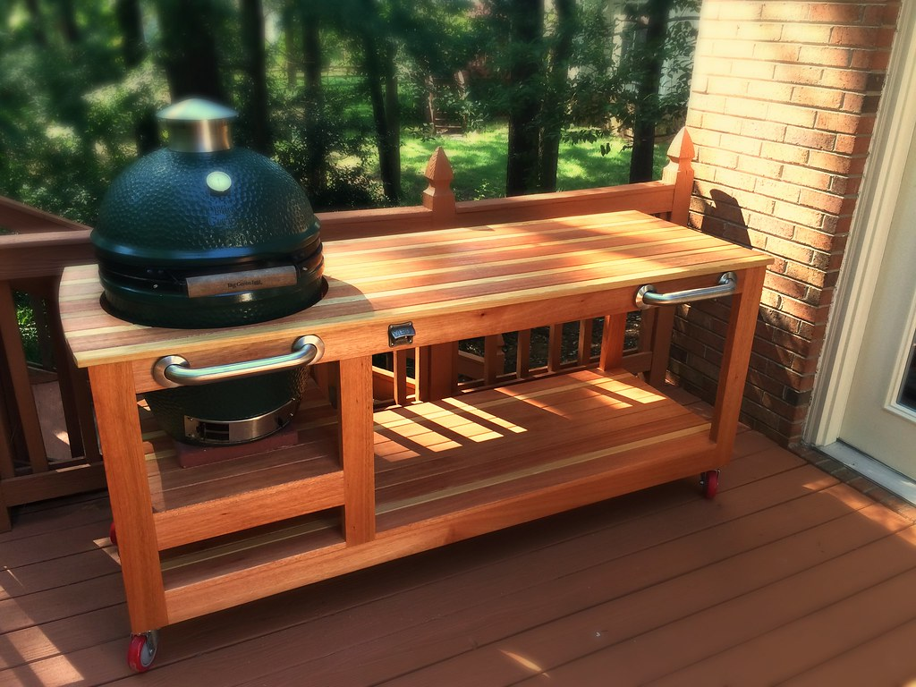 big green egg table   red grandis  cypress