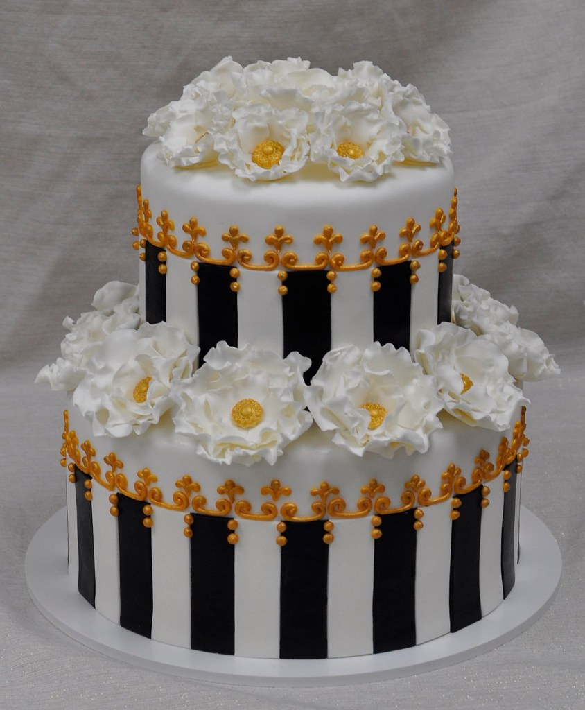 black white and gold bridal shower cake by jennywenny