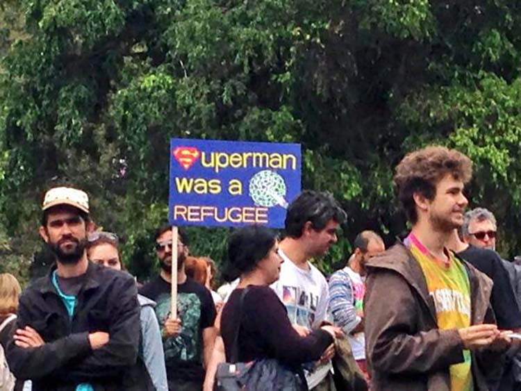Witty & funny protest signs #1: Superman Was A Refugee