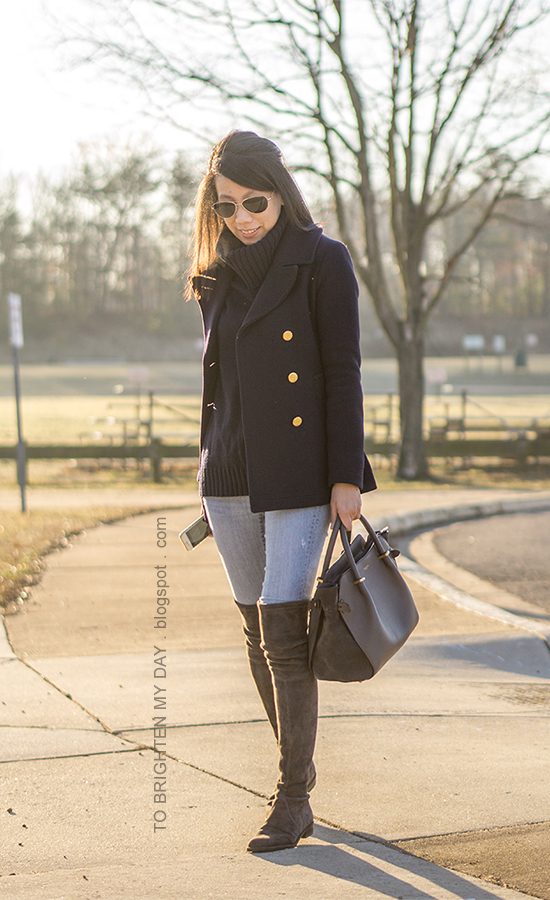 navy peacoat, navy cowl turtleneck sweater tunic, lightwash skinny jeans, gray tote, gray suede over the knee boots