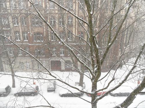 Heftiger SChneefall in einer Kreuzberger Straße