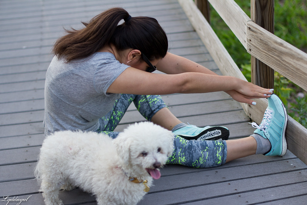 Workout outfit, RBX leggings, grey tee, dog-8.jpg