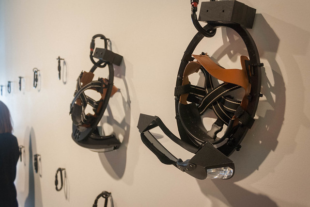 "Inverted vision goggles at the ""Decision"" exhibition, London"