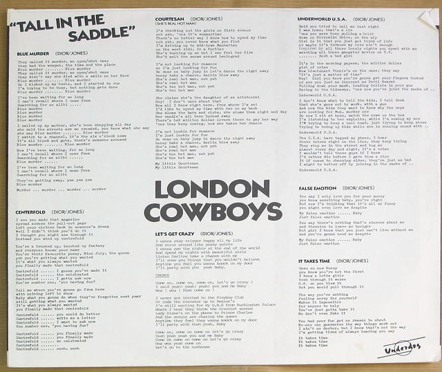 "LONDON COWBOYS TALL IN THE SADDLE 12"" LP VINYL"