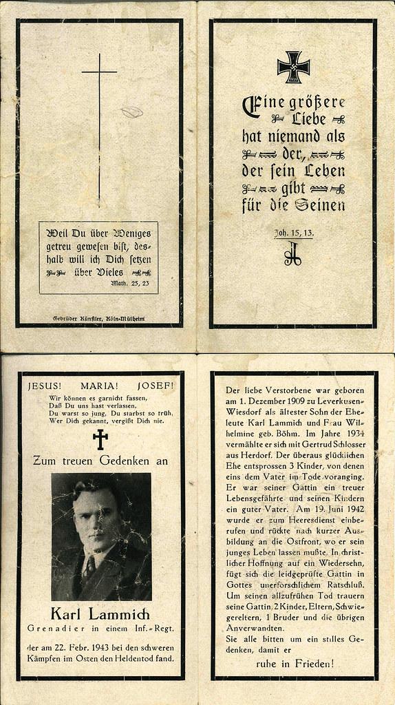 Totenzettel Lammich, Karl † 22.02.1943