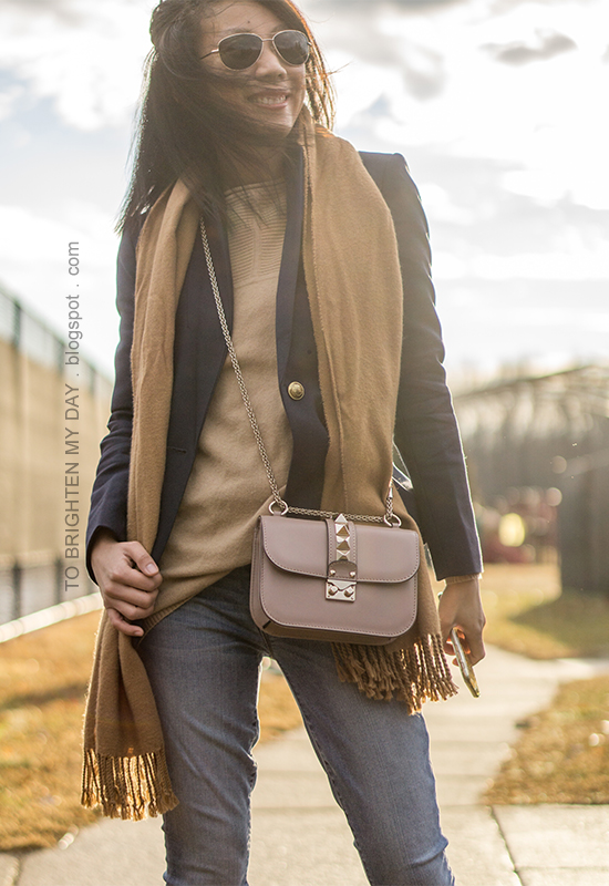 camel scarf, navy wool blazer, camel sweater tunic, nude crossbody bag, lightwash jeans