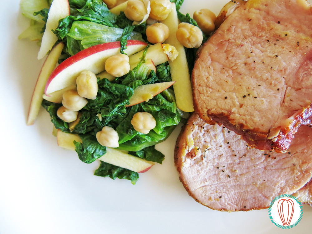 Warm Escarole-Apple Salad & Pork Chops