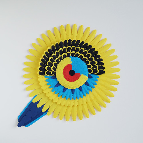 Yellow Rosella Paper Sculpture by Marine Coutroutsios