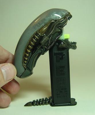 """Alien Pez dispenser by Peter """"Rat D"""" Davidson"""