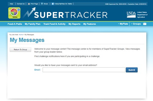 The SuperTracker My Messages web page