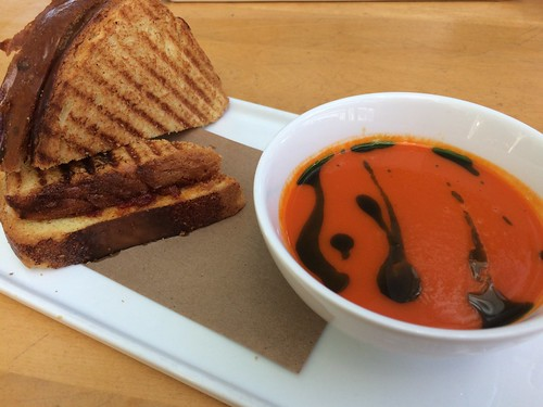 Grilled cheese & red pepper soup at JG Domestic
