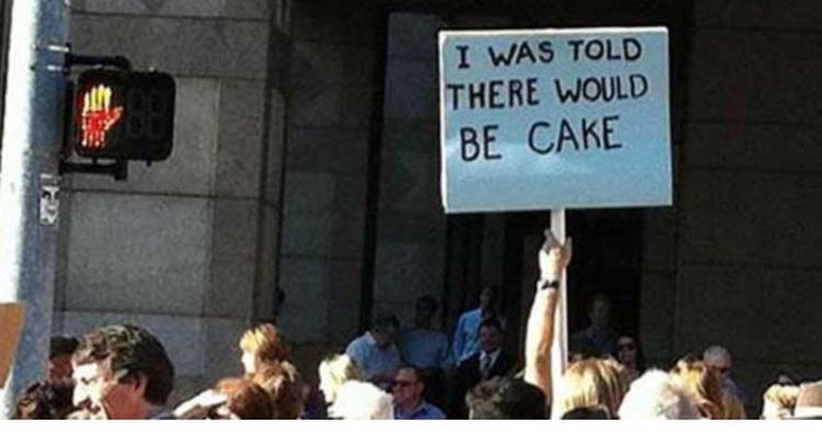 Witty & funny protest signs #13: Who Ate The Cake?