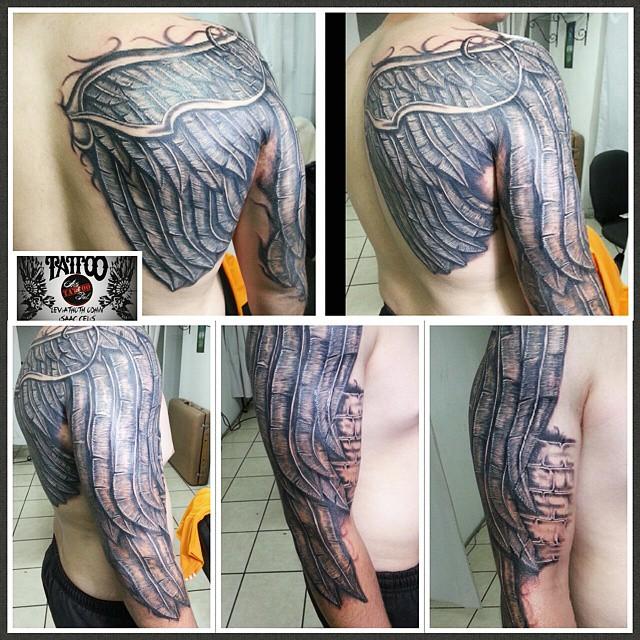 Terminado Alas Pluma Espalda Hombro Brazo Tatt Flickr - Tatuajes-de-hombro-y-brazo
