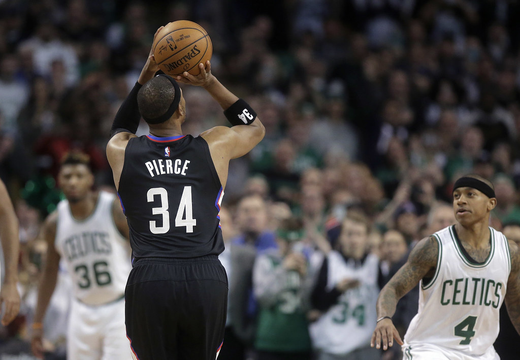 Paul Pierce(34)生涯最後1場在波士頓的比賽以三分球完美結束。(達志影像)