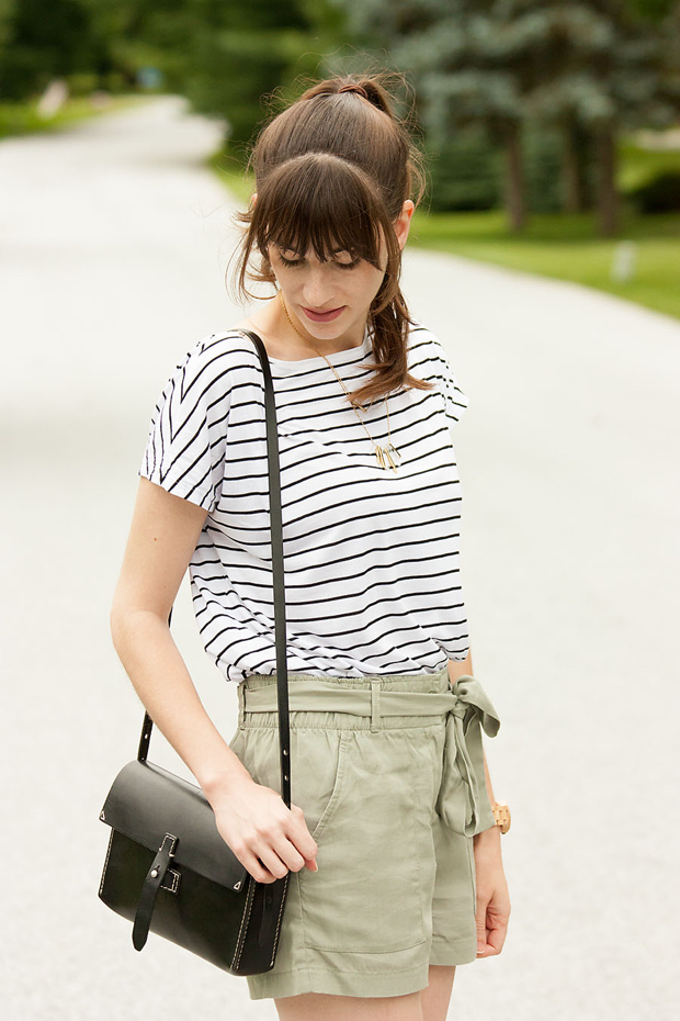 Striped Tee, Magewell Bage, Gap Tie Shorts