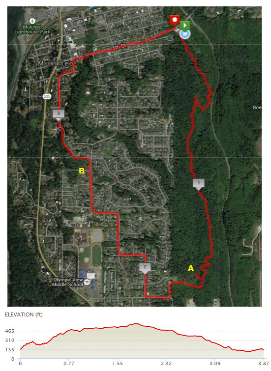 Today's awesome walk, 3.87 miles in 1:37, 8318 steps, 447ft gain