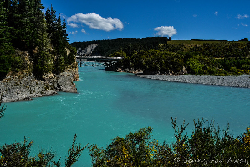 Rakaia Gorge Bridge from the Walkway, Canterbury, New Zealand.