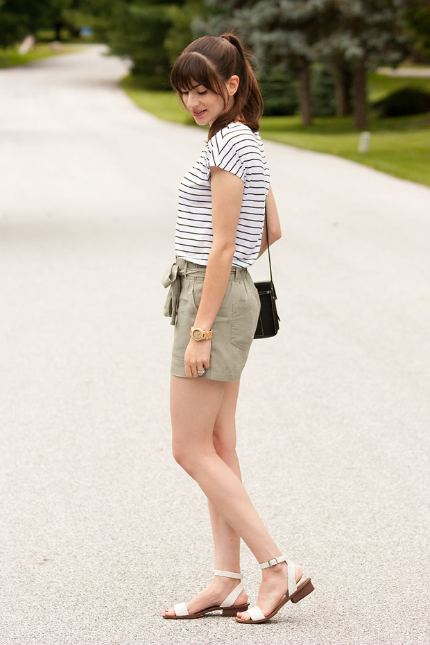 Paperbag Tie Shorts, Striped Tee, Jord Watch