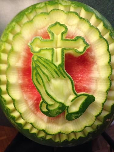 Watermelon Carving Cross Praying Hands Watermellon