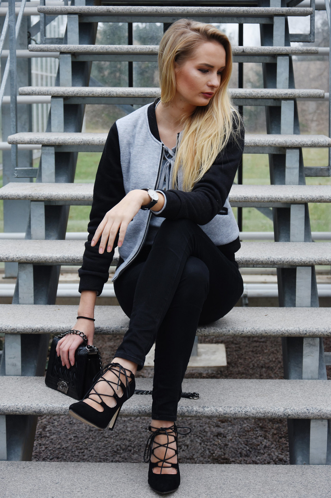 Lace up heels outfit