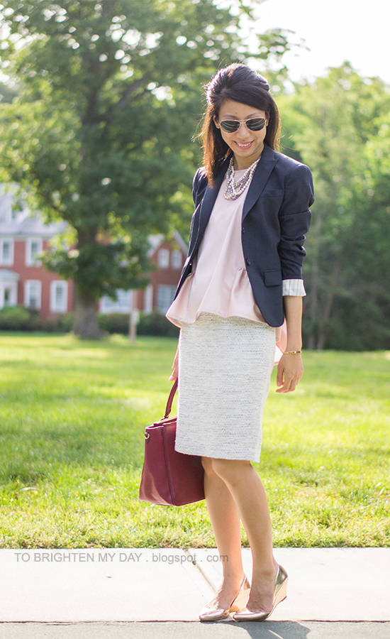 navy blazer, pink peplum top, blue tweed skirt, pink metallic rose wedges, berry tote