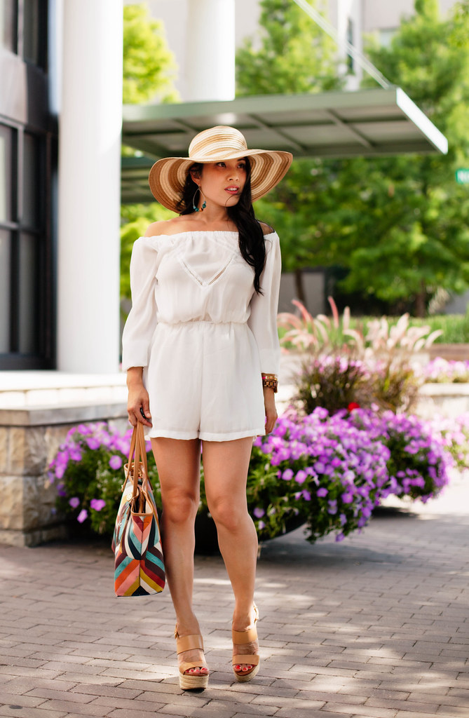 cute & little blog | petite fashion | white off-shoulder romper, striped floppy sun hat, nude wedges, tory burch kerrington tote | spring summer outfit