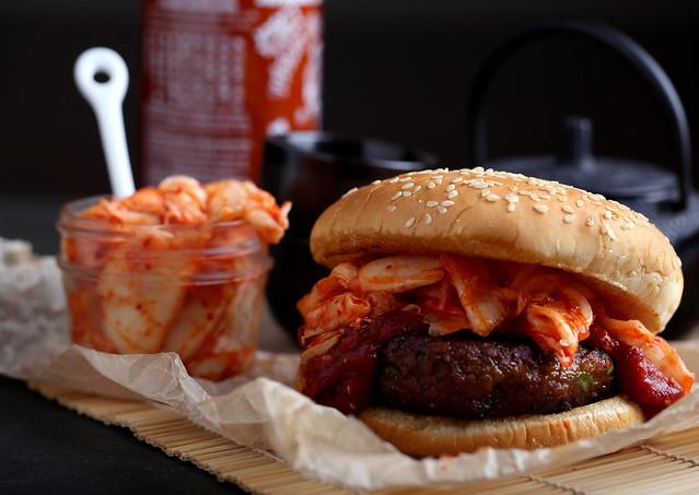 Simple Korean Kimchi BBQ Burgers