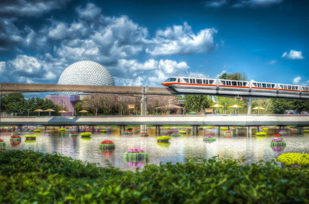 Spaceship Earth And Monorail Spaceship Earth And The
