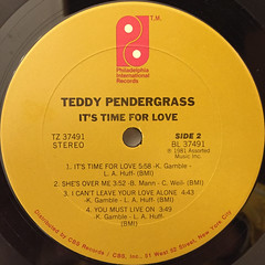 TEDDY PENDERGRASS:IT'S TIME FOR LOVE(LABEL SIDE-B)
