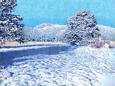 Snowy Bergen Peak. Artist Dan Miller
