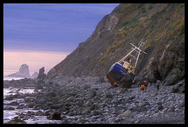 Lost Coast Shipwreck   My hiking buddies approach a ...