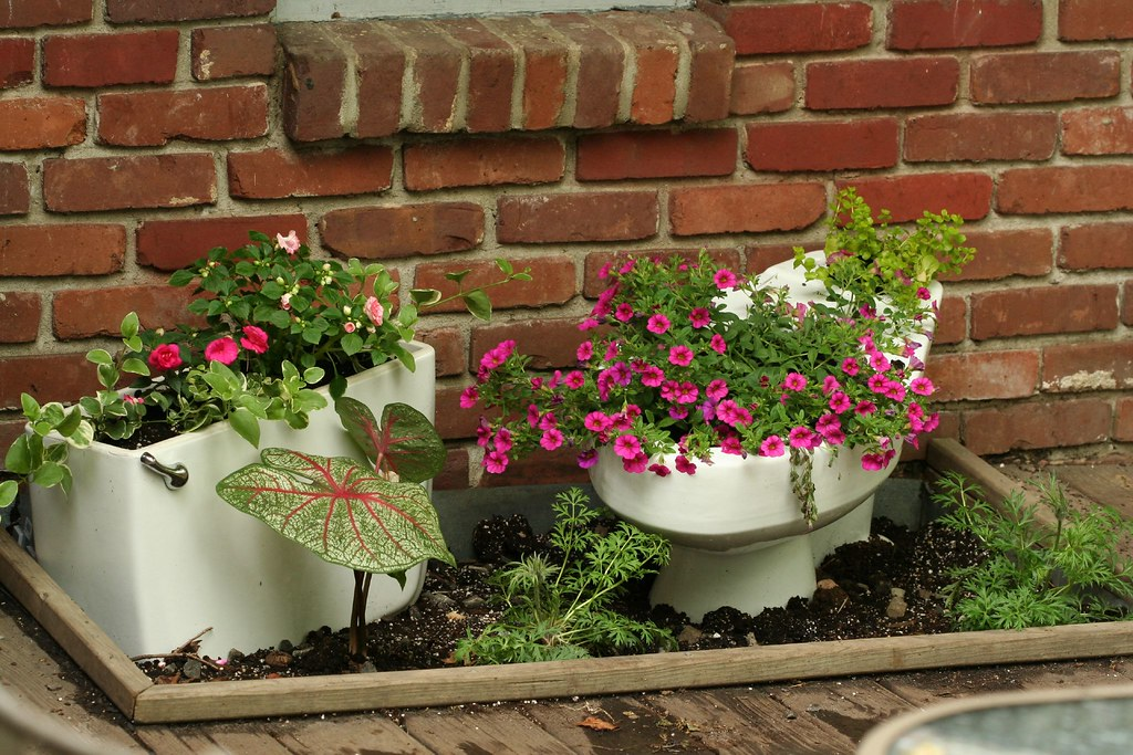 unusual flower pots we had this commode left over from a