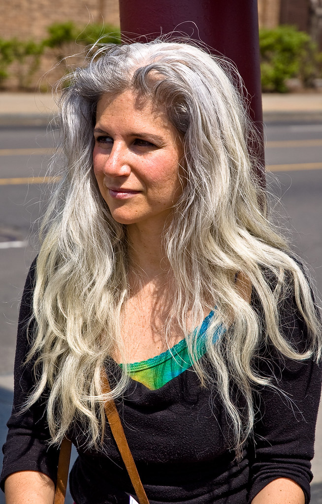 young woman with gray hair | I passed this woman just