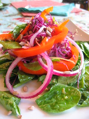 orange_pepper red_onion spinach_salad | by tofu666