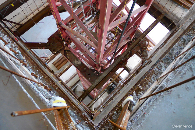 Looking down on the crane tower from the 23rd floor