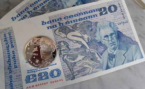 Yeats banknote and coin