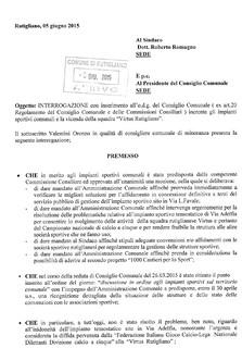 Rutigliano-Interrogazione Consigliere Oronzo Valentini Sport