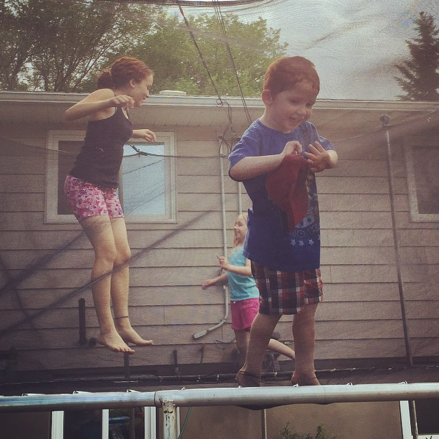 2015: trampolines have nets, they're not slippery, and they don't have dish soap on them.