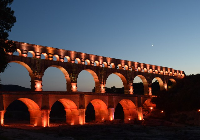 Jupiter and Venus over the Pont du Gard